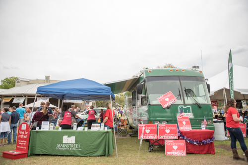 Mainstreet Community Bank RV and tent set up at Pig on the Pond
