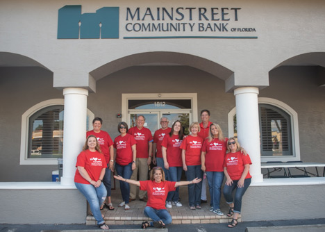 Group photo of East Volusia team at Mainstreet Community Bank